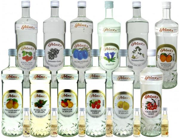 Prinz Probierpaket 4: 12 Flaschen 40%ige Schnäpse 1,0l + 6 Miniaturen alte Sorten - 5% Rabatt - aus