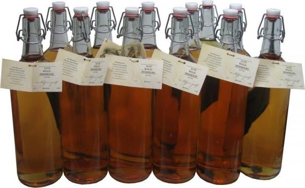 18 Flaschen Prinz Alte Waldhimbeere 1,0l - im Holzfass gereifte Spirituose aus Österreich - 3,5% Rab