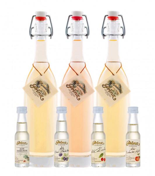 Prinz tasting-package Alte Sorten (old varieties) 3x0.2l (apricot, pear, raspberry) + 4 miniatures 0