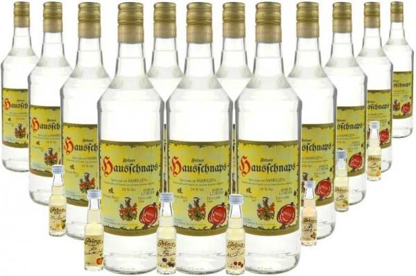 12 Flaschen Prinz Hausschnaps Marille 1,0l + 7 Miniaturen alte Sorten - milder Schnaps aus Hörbranz