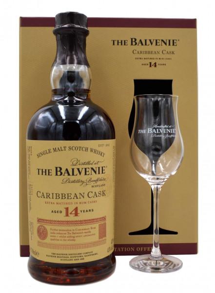 Balvenie Caribbean Cask 14 Jahre 0,7l + 1 Glas in Geschenkpackung