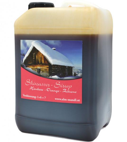 ALM MAND'L Schiwasser Orangen-Zitronen Sirup, skiwater raspberry-orange-lemon syrup 3.0l-canister